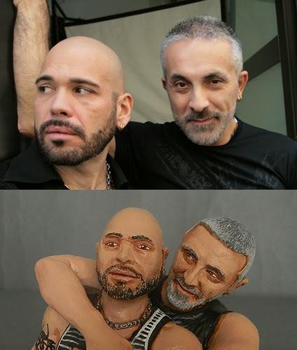 facce ritratti statuine statuette personalizzate idee regalo coppia uomini orme magiche