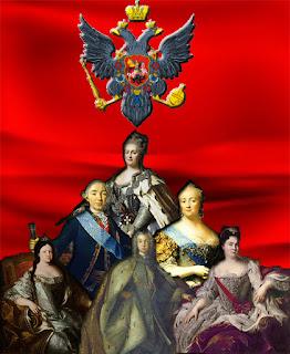 The Romanovs (Catherine II, Peter III, Elizabeth, Anna, Peter II, and Catherine I)