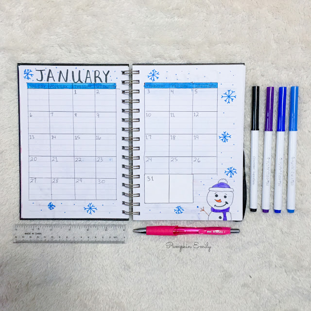 January 2019 Bullet Journal Calendar