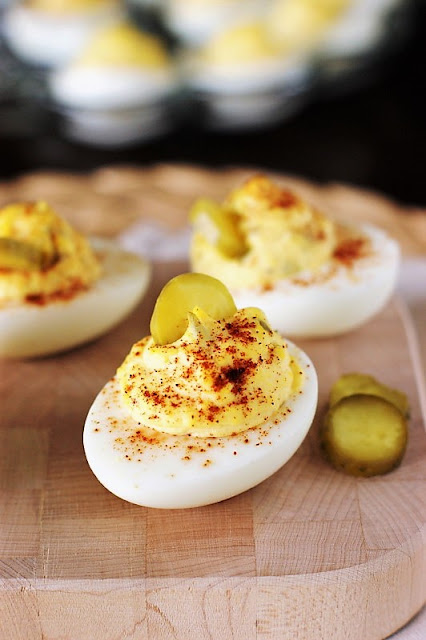 Deviled Eggs Garnished with Paprika Image