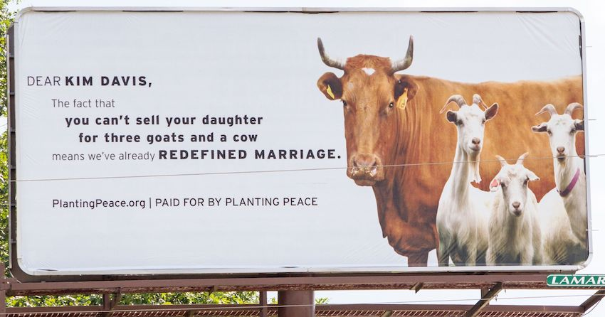 Anti Kim Davis and biblical marriage billboard by PlantingPeace.org