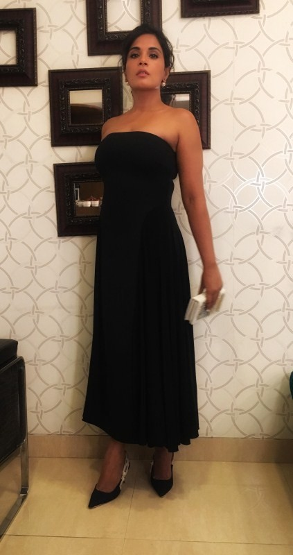 Richa Chadha In Black Avatar for The Trailer Launch of Amazon Prime's Inside Edge