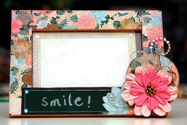 Smile Altered Frame by Irene Tan using BoBunny Felicity collection