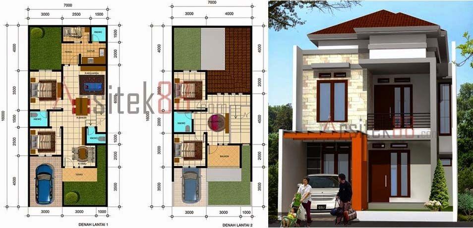 Denah Rumah Minimalis 2 Lantai Ukuran 8x12