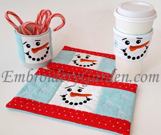 Embroidery Garden: In the Hoop Snowman Coffee Cozy, Sleeve & Mug Rugs