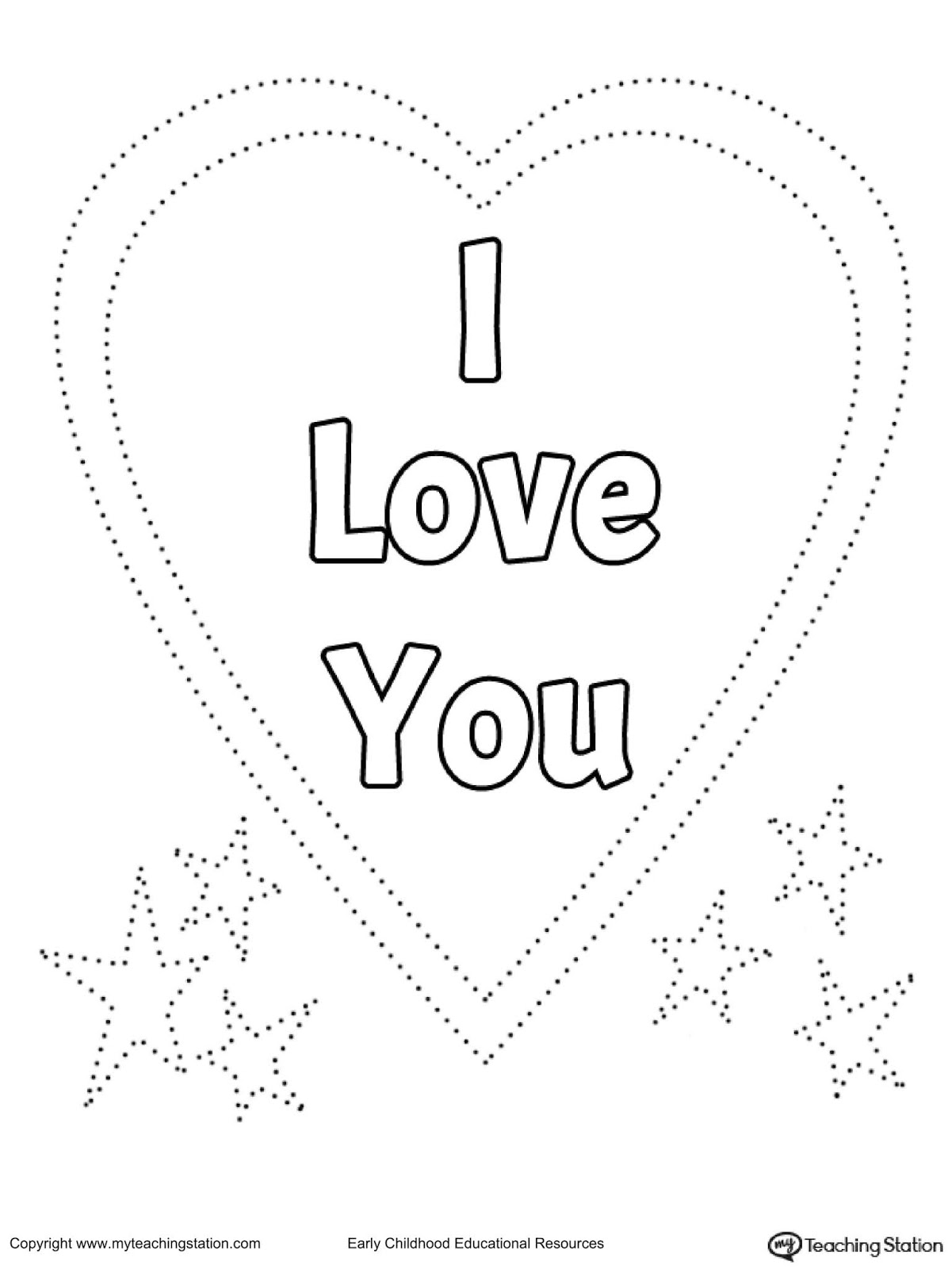 Coloring and Tracing I Love You Sign