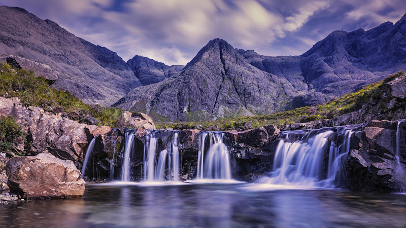 Mountains, River Stream and Waterfalls