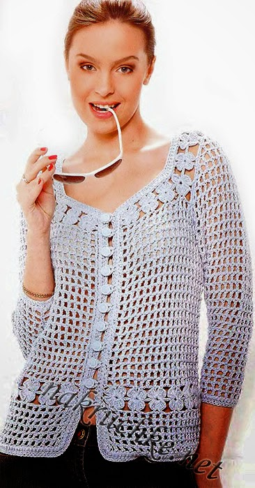 Chaqueta de mujer con tejido crochet calado