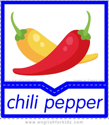 Chili pepper - English flashcards for the fruits, vegetables and berries topic