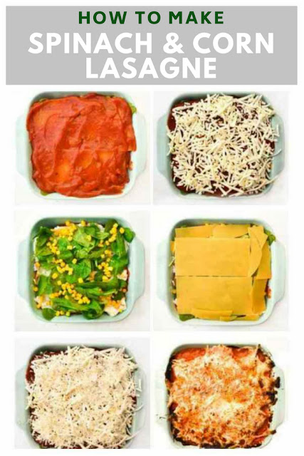 An easy spinach and corn lasagne with step-by-step photos. An cheats recipe using jarred sauce that is quick to make. Vegetarian or vegan. Free printable recipe.