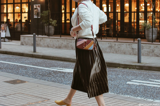 Japanese Fashion Blogger,Mizuho K,20181028OOTD, Jouetie=white MA1, ‎Hollister= waffle T-shirt, SheIn= pleated velvet green skirt, Zaful= multi color crossbody, GU= yellow mules, Olivia Burton=silver watch, Shashi= horn necklace, Bershka= medal necklace Bali= shell choker