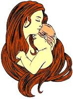 Ilustración de madre con su bebé a color