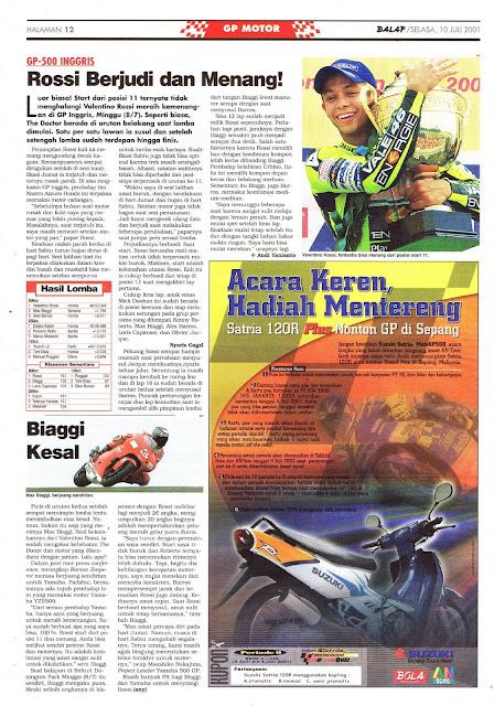 BALAP GP MOTOR GP-500 INGGRIS ROSSI JUARA