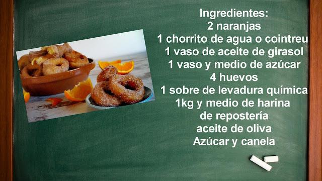 Ingredientes roscos de naranja fritos