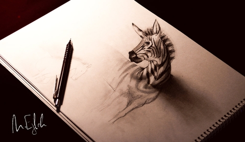 05-Zebra-Muhammad-Ejleh-2D-Like-3D-Drawings