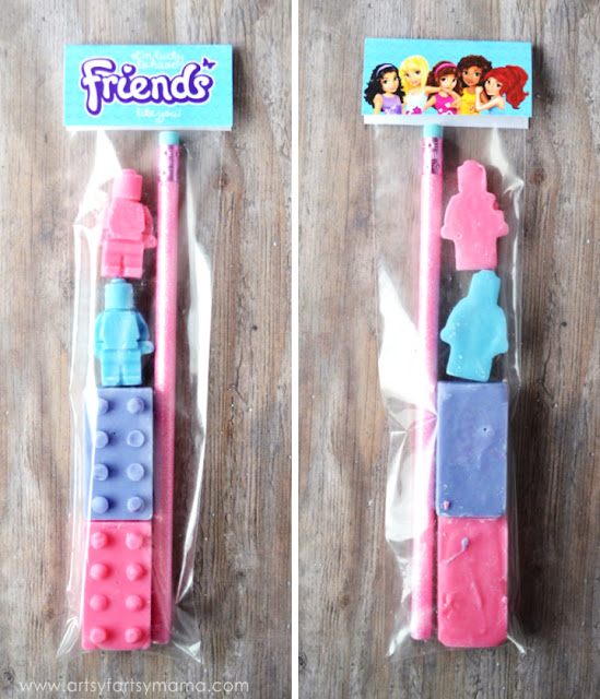 Free Printable LEGO Friends Goodie Bag Topper at artsyfartsymama.com