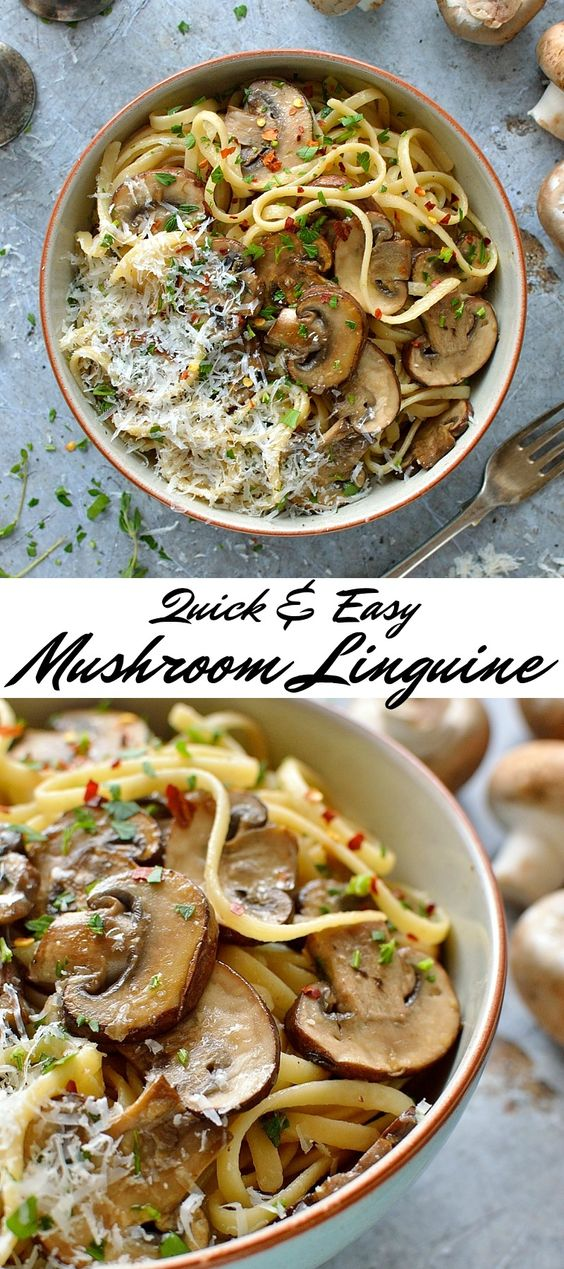 Easy Mushroom Linguine #dinner #lunch #easy #mushroom #linguine