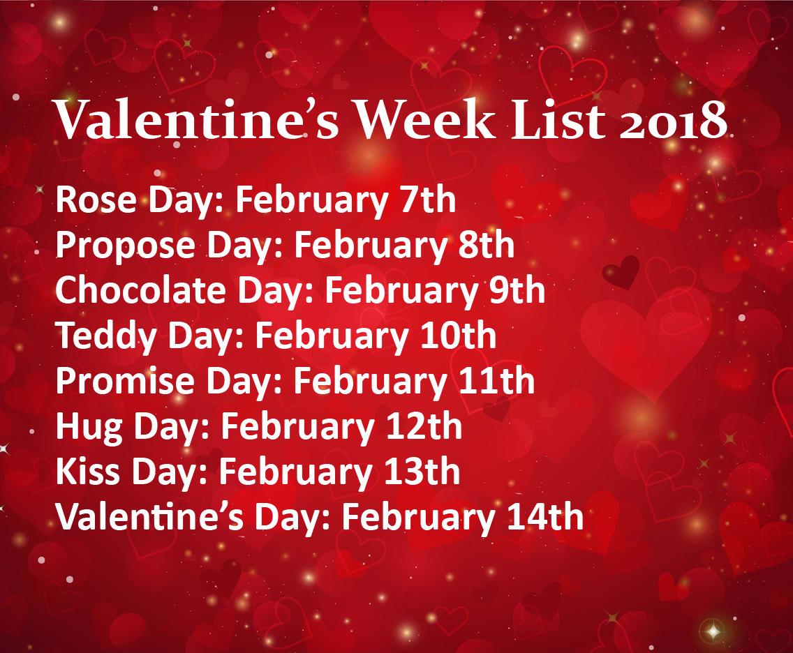 Valentineu0027s Week List 2018 Calendar