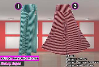 celana kulot payung motif salur dan monochrome