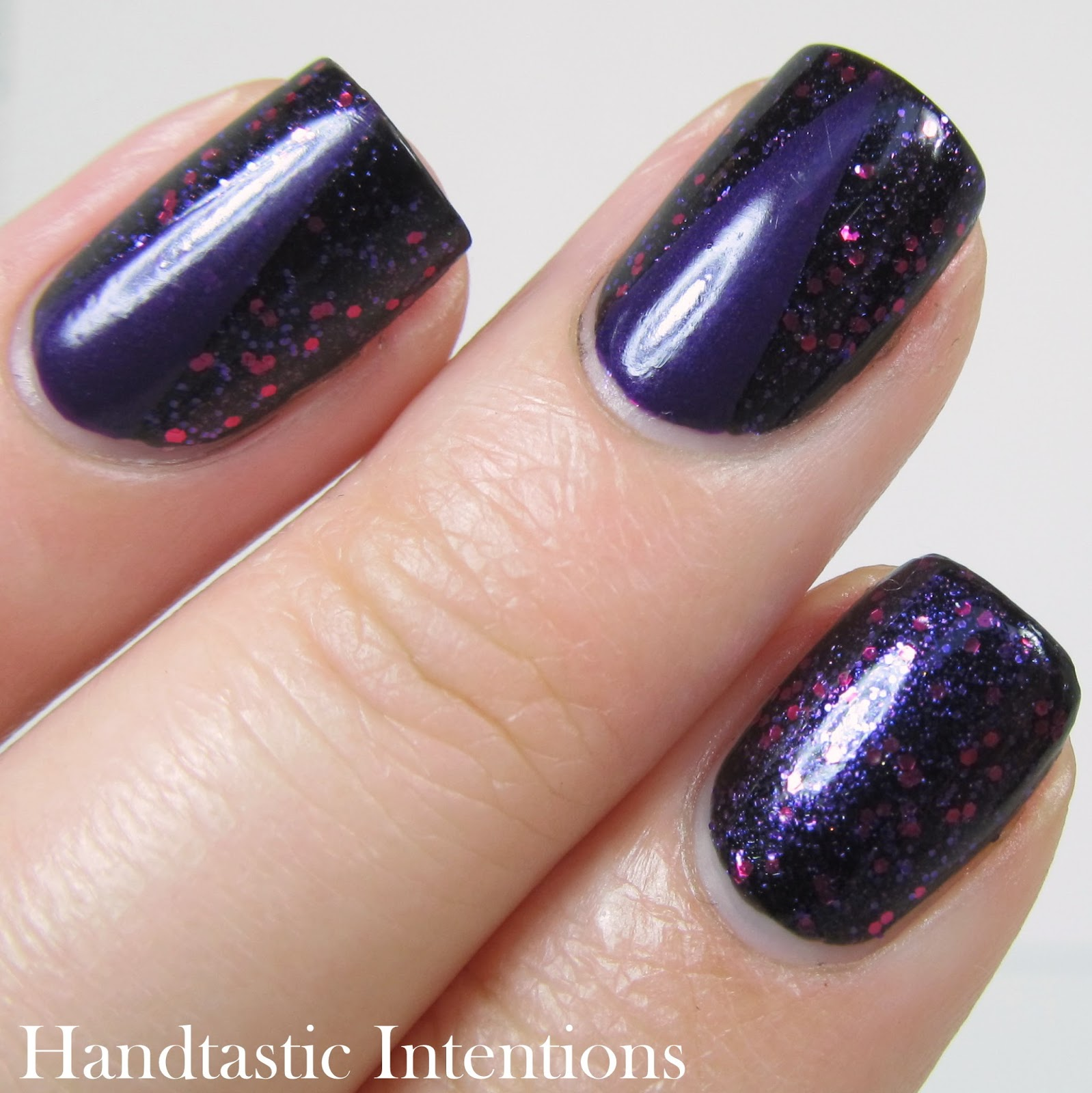 Handtastic Intentions: Dark Purple Nail Art