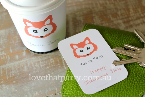Free Printable download diy gift idea Valentine's Day Fox Coffee Cup Wraps Love Notes
