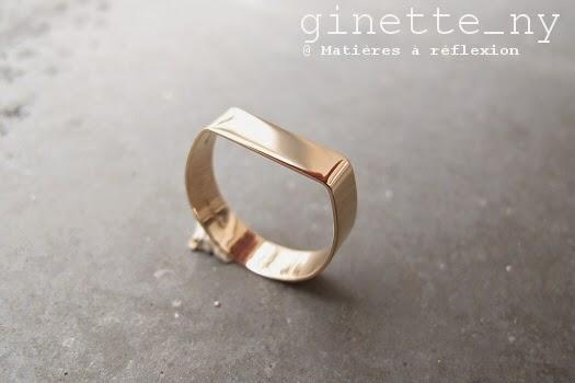 Bague chevalière Ginette NY Baguette en or rose