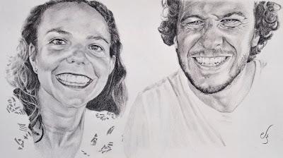 Retrato a lápiz de una pareja sonriente