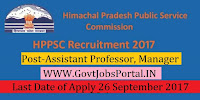 Himachal Pradesh Public Service Commission Recruitment 2017 – 45 Assistant Professor, Manager
