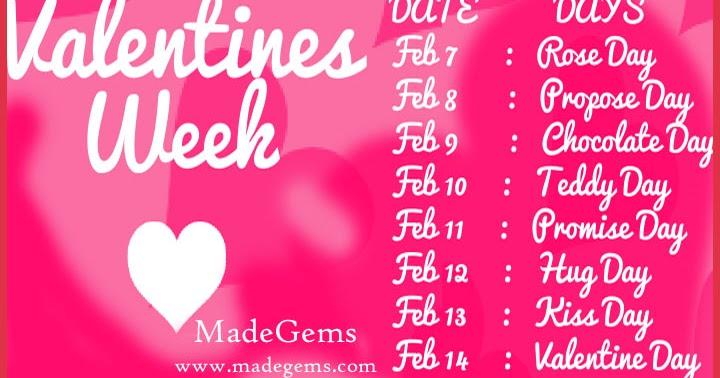 Valentine Week List Complete Date Sheet MadeGems