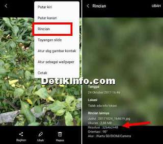 cara lihat resolusi image dan ukuran file foto di android
