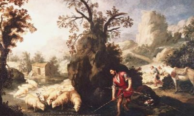 Jacob laying the peeled rods before Laban's flock - Bartolomé Esteban Murillo - 1617-1682