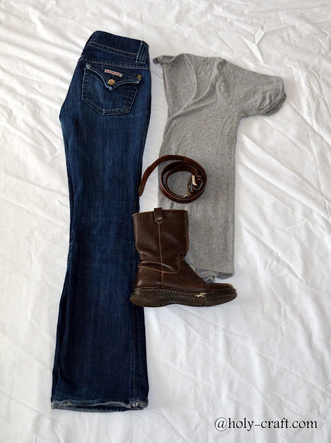 casual outfit with boot cut jeans and t-shirt