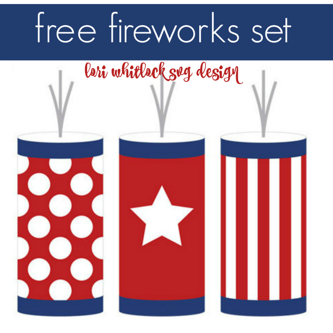 Free set of July 4th firecrackers and red white and blue fireworks from Lori Whitlock for Silhouette School