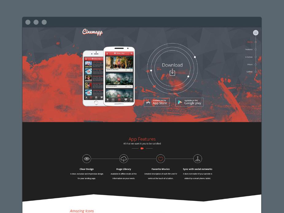 Cinemapp : Free Mobile App Landing Page Template