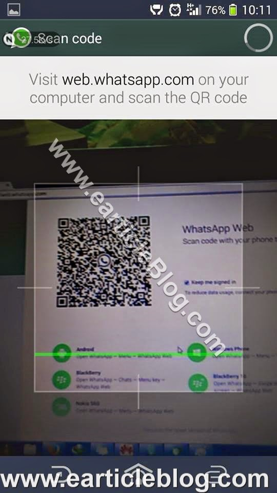 now click on whatsapp web your mobile camera is open now just scan the qr code on your pc whatsapp web as shown below image