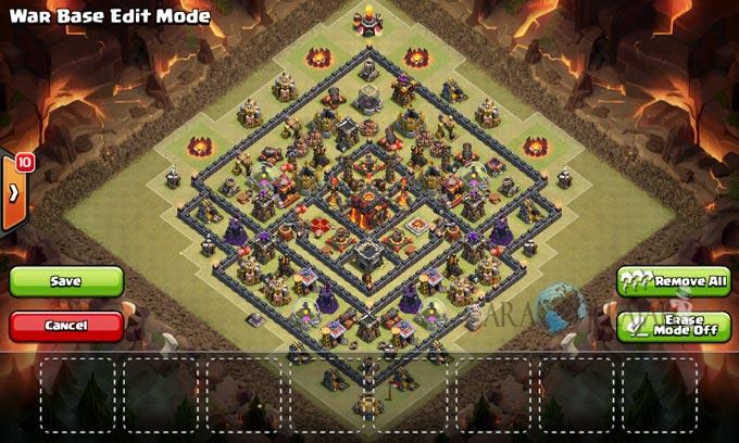 Desain Base Pertahanan Terbaik Untuk Base War TH 10 Update Terbaru 22