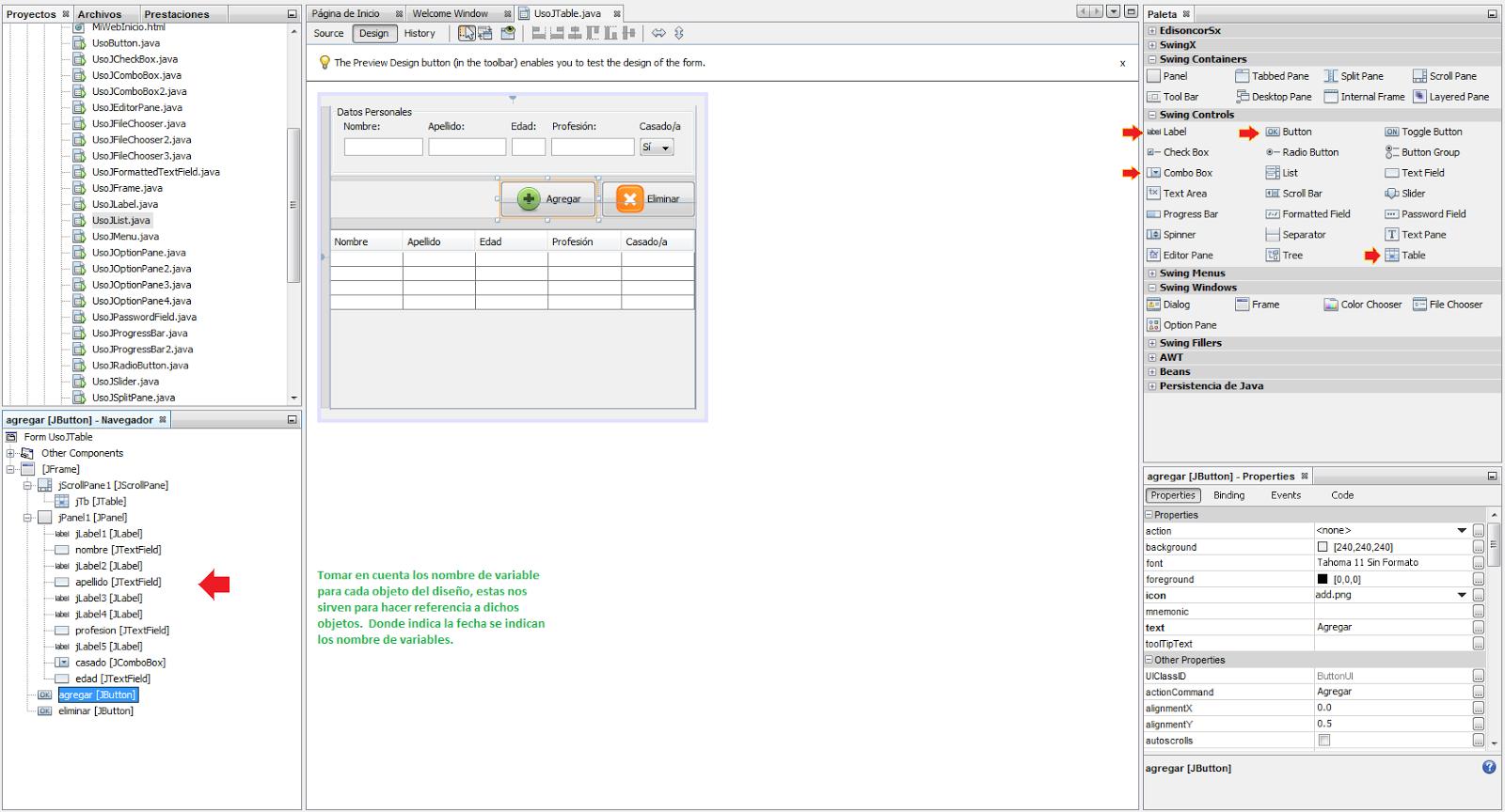 Tutoriales java uso bsico de elementos swing con netbeans 32 lista de importaciones que necesitamos para trabajar con ciertos objetos adems los mtodos llamados desde el constructor del jframe y las variables de urtaz Images