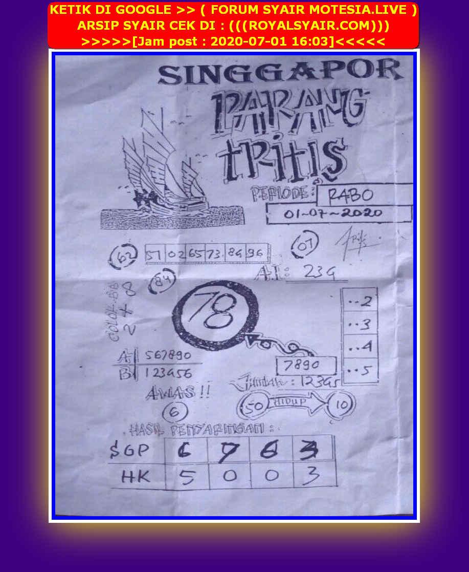 Kode syair Singapore Rabu 1 Juli 2020 27