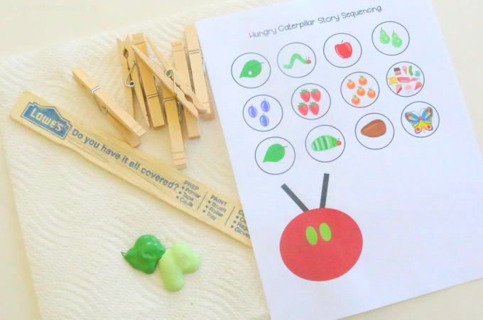 very hungry caterpillar story sequencing printable