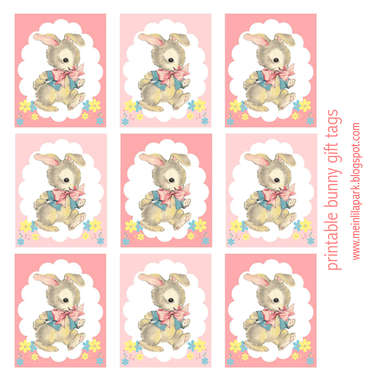 Free printable vintage bunny gift tags geschenkanhnger today i created some free printable bunny gift tags for you they also are perfect easter gift tags for baby showers the gift tags feature an adorably cute negle Choice Image