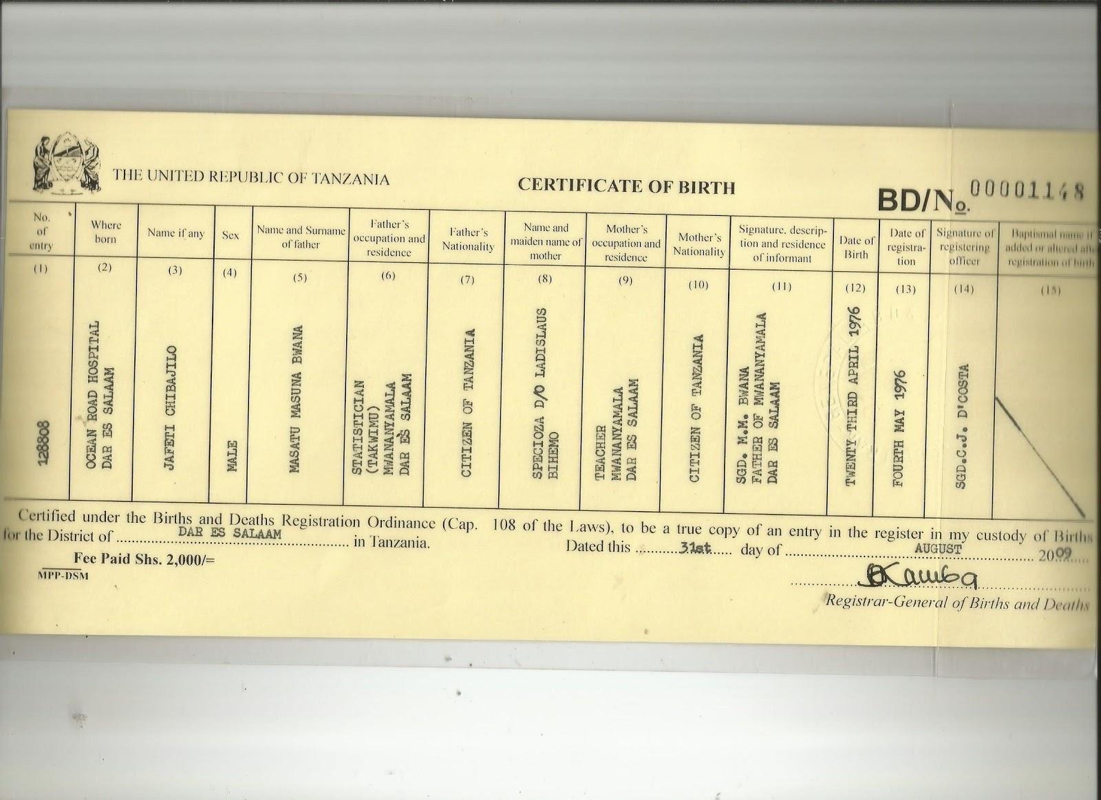 Mwl japhet masatu blog japhet chibajilo masatu certificate of japhet chibajilo masatu certificate of birth 23 04 1976 ocean road hospital dar es salaam tanzania xflitez Choice Image