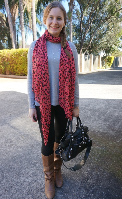 orange leopard print scarf with foil polka dot grey knit black skinny jeans balenciaga part time | awayfromblue