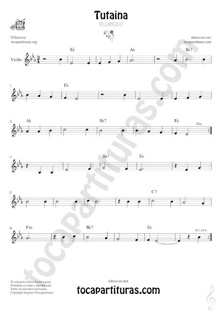 Violín Partitura de Tutaina Villancico Sheet Music for Violin Music Scores