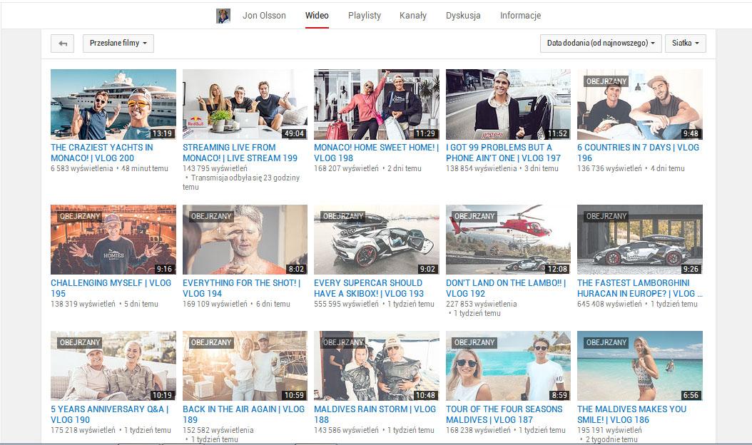 popularne kanały na You Tube