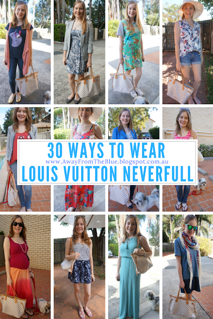 30 ways to wear a Louis Vuitton Damier Azur MM Neverfull Tote Bag | awayfromtheblue blog