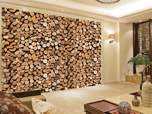 Lautaseinä Tapetti Paneloitu puujäljitelmä tapetti puukuvioinen
