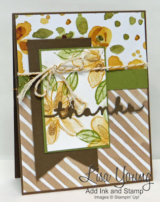 Stampin' Up! Garden in Bloom stamp set. English Garden paper. die cut thanks. Handmade card by Lisa Young, Add Ink and Stamp