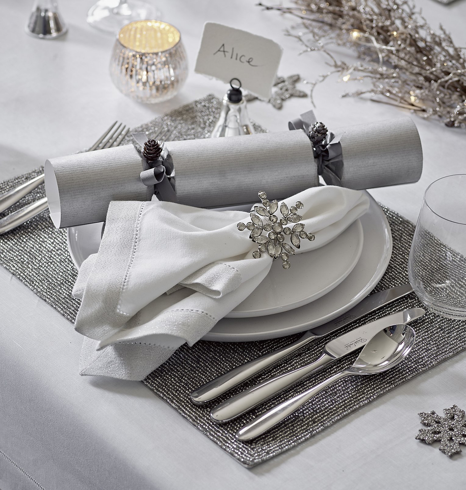 The White Company Silver Beaded Placemat-Set Of 2