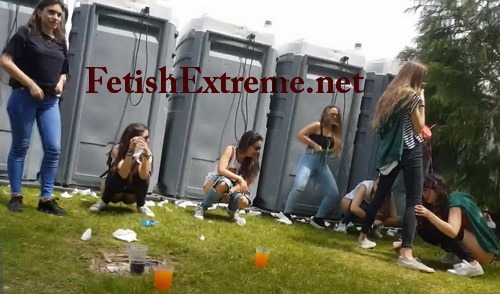 Girls Gotta Go 107 (Girls decide to pee together on the ground, outdoor. All of them are at a festival, having fun, drinking to much beer)