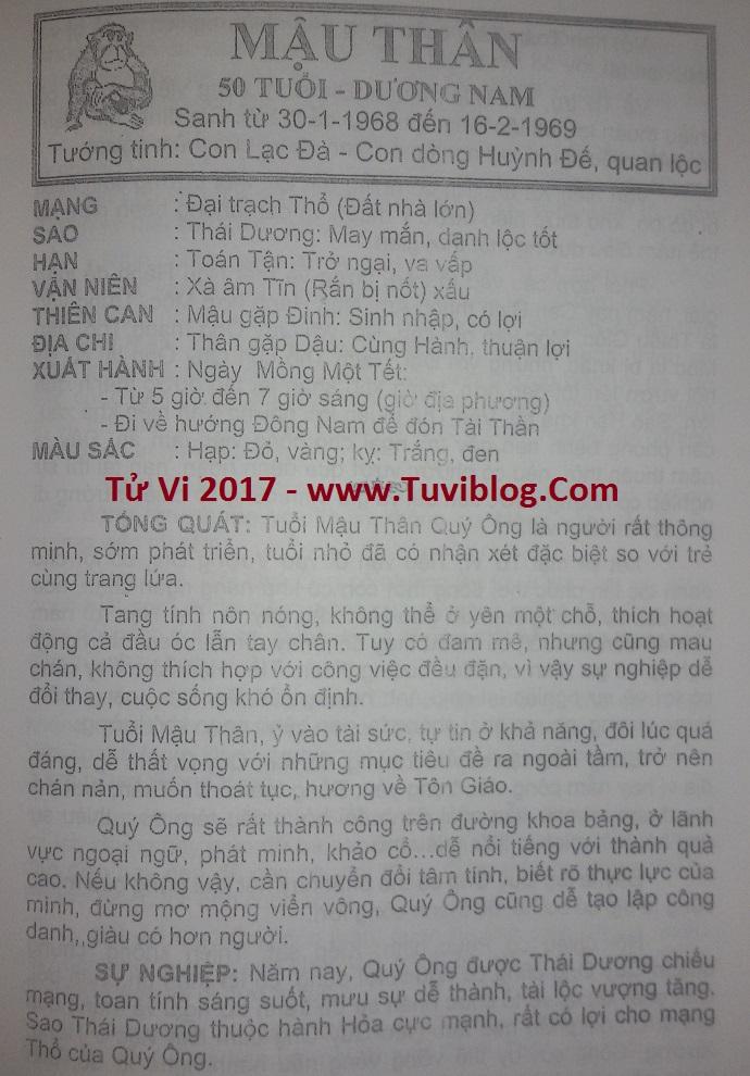 Tu vi Mau Than nam 2017